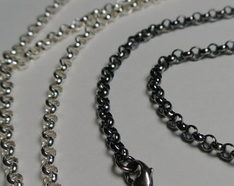 sterling silver chain, silver chain, oxidized sterling silver chain, 24 inch sterling chain, 30 inch sterling chain, rolo chain, heavy chain
