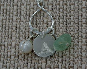 Monogram Necklace, Beach Glass necklace, Initial necklace