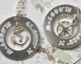 Coordinates jewelry, Nautical jewelry, Longitude and Latitude jewelry, longitude and Latitude, Custom engraved jewelry, Engraved, Custom