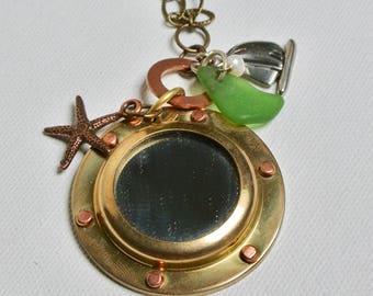 sea glass jewelry, sea glass necklace, beach glass jewelry, beach glass necklace, nautical jewelry, nautical necklace, long necklace, brass