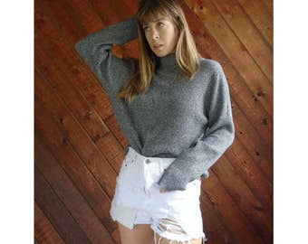 Gray Marled Mock Neck Pullover Sweater - Vintage 90s - S/M