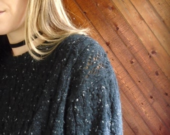 Pointelle Cable Knit 90s Pullover Sweater - Vintage - MEDIUM