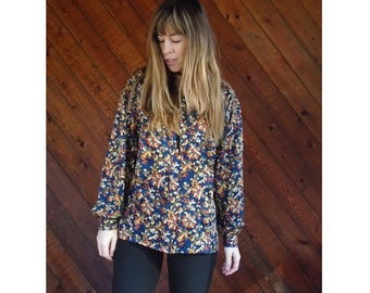 Navy Printed Paisley l/s Pleated Blouse - Vintage 90s - S/M