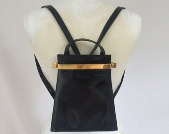 black patent leather + gold trim italian mini backpack - 90s