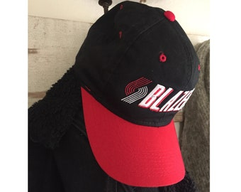 cbe9399460d New Vintage 90s Portland Trail Blazers NBA Basketball Snap Back Hat - Red  Black 1990s Hat Dead Stock