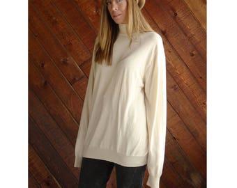 Vanilla Silk 90s Turtleneck Sweater Tunic - Vintage - L