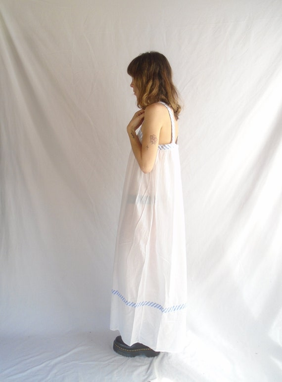 crisp white cotton maxi dress with contrast stripe