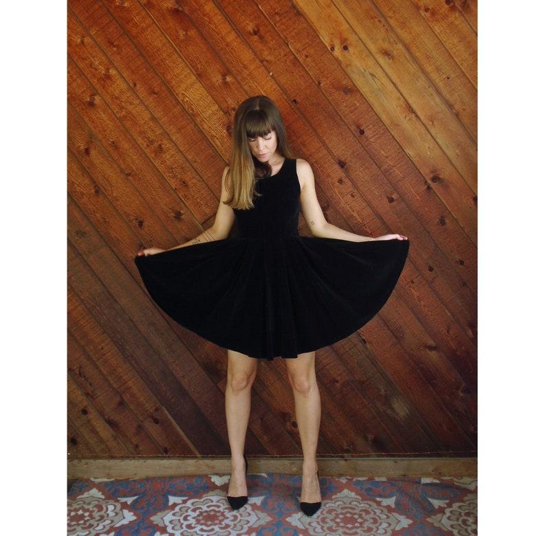 Vintage 80s XSS Black Cotton Velvet Mini Box Pleat Circle Dress