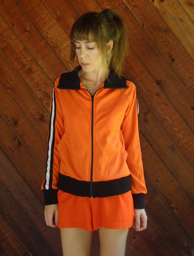 orange striped athletic track jacket small vintage 90s y2k