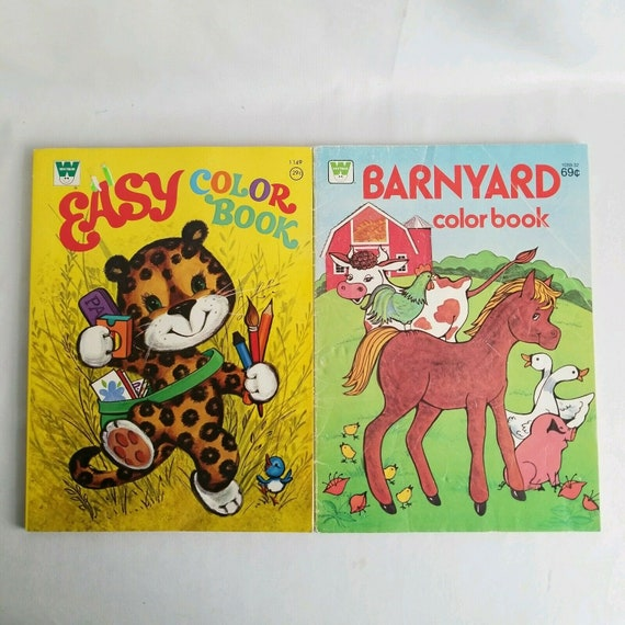 Lot of 2 Vintage Whitman Coloring Books Barnyard Animals and Easy Coloring Books