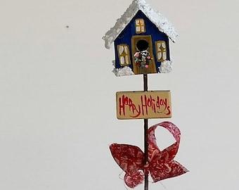 Navy Blue Metal Birdhouse Plant Poke , Hand Painted , Christmas Design