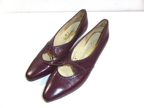 Vintage Johansen Ladies Dress Shoes Size 7 1 2 8 Burgundy Etsy