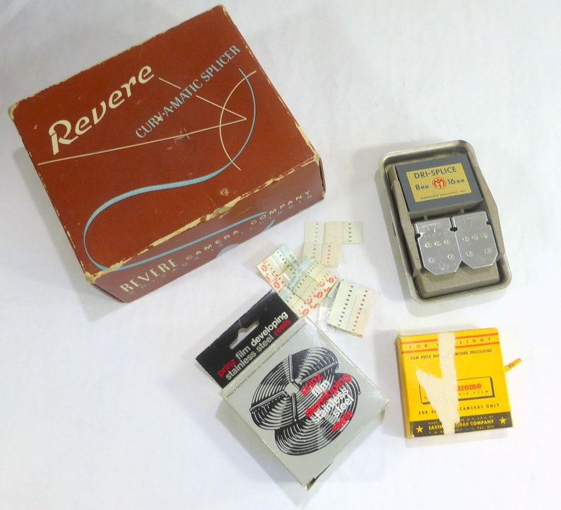 Revere Camera Company Curv-A-Matic Vintage Film Splicer Box 8MM 16MM  Mansfield Industries DriSplicer Prinz Developing Reel Kodachrome Film