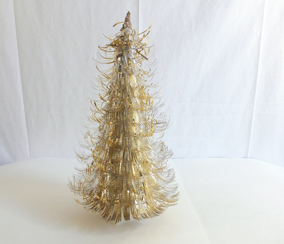 Foil Christmas Tree.Vintage Gold And Silver Tinsel Aluminum Foil Christmas Tree Tabletop Christmas Tree Christmas Decoration Christmas Home Decor Foil Tree