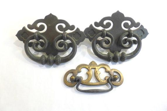 SIX brass Drawer Cabinet Pulls Knobs Salvage 6 vtg cabinet dressers set ceramic