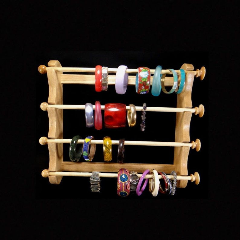Large Wall Mounted Hanging Bracelet Holder Storage Display Oak image 0
