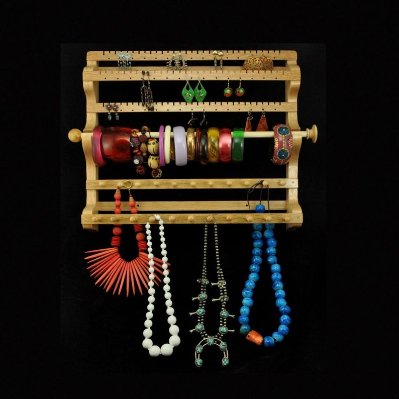 Hanging Combo Earring Necklace Bracelet Storage Holder Display image 0