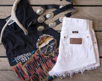 Vintage WRANGLER Shorts WHITE Denim Cutoff Shorts Highwaist Jean Shorts CUSTOM-Fit All Sizes