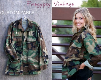 Camo Jacket Vintage Military Army Jacket Authentic Military Issued Button Down Shirt Jacket ALL SIZES