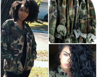 Camo Jacket Vintage Army Jacket Military Issued Button Down Shirt Jacket Small Medium Large
