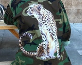 Camo Jacket with CHEETAH Graphic Decorated Army Jacket Vintage Military Shirt Jacket All Sizes