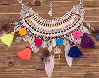 Silver Necklace Bohemian Statement Colorful Feather Shell Tassel Fringe BOHO Bib Festival Necklace