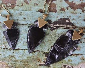Arrowhead Necklace Black Obsidian Stone Tribal Necklace Customizable Long or Short