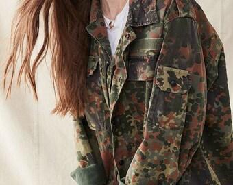 Camo Jacket EURO SURPLUS Authentic Vintage Europe Camouflage Jacket Sizes Small Medium