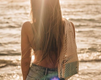 Shopping Bag Cotton Crochet Mesh Tote Reusable Grocery Eco Beach Bag Mauve Light Blue or Ivory