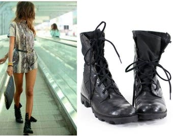 Vintage 90s Military Boots Black Leather Combat Boots Womens Size 10
