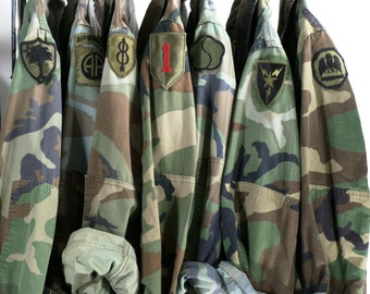247f4d6e6636e Camo Jacket Vintage Army Jacket Reclaimed Military Button Down Shirt Jacket  ALL SIZES