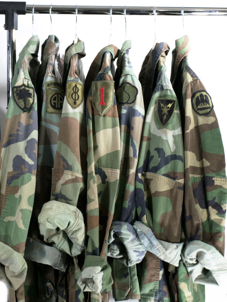 Camo Jacket Vintage Army Jacket Reclaimed Military Button Down image 0
