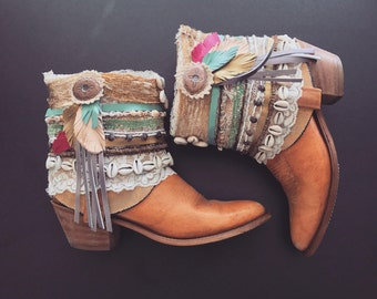 Decorated Cowboy Boots Embellished CUSTOM-MADE Short Booties Summer Festival Boho Ankle Boots All Sizes
