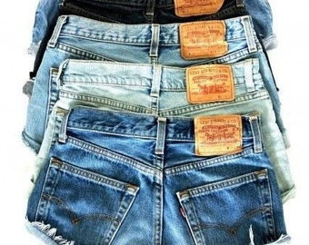 Levi Shorts Denim Cutoff CUSTOM FIT Mid-High-Rise Your Choice Button-fly 501's Or Zip-fly LEVI'S Jean Shorts