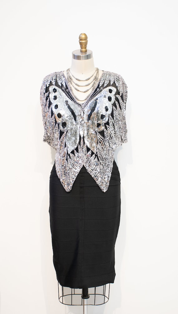 Sequins Top Vintage 1970s DISCO Silver Butterfly … - image 4