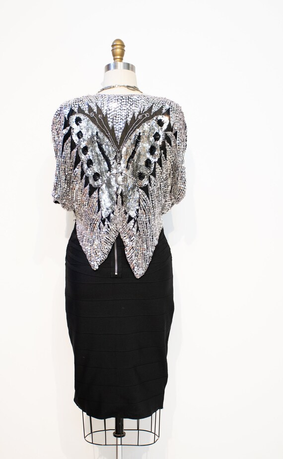 Sequins Top Vintage 1970s DISCO Silver Butterfly … - image 8