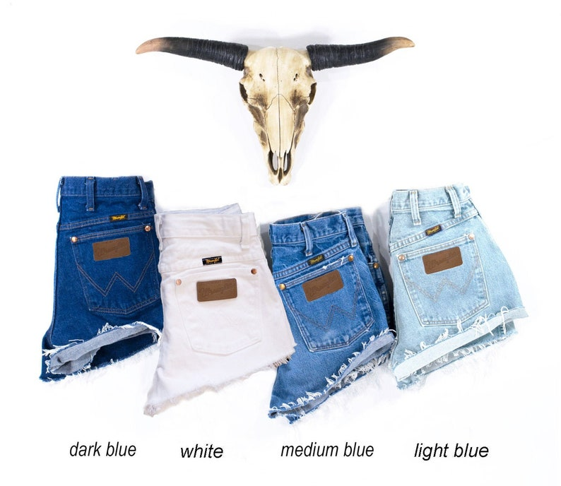 Vintage WRANGLER Shorts Denim Cutoff Shorts Tattered Blue image 0
