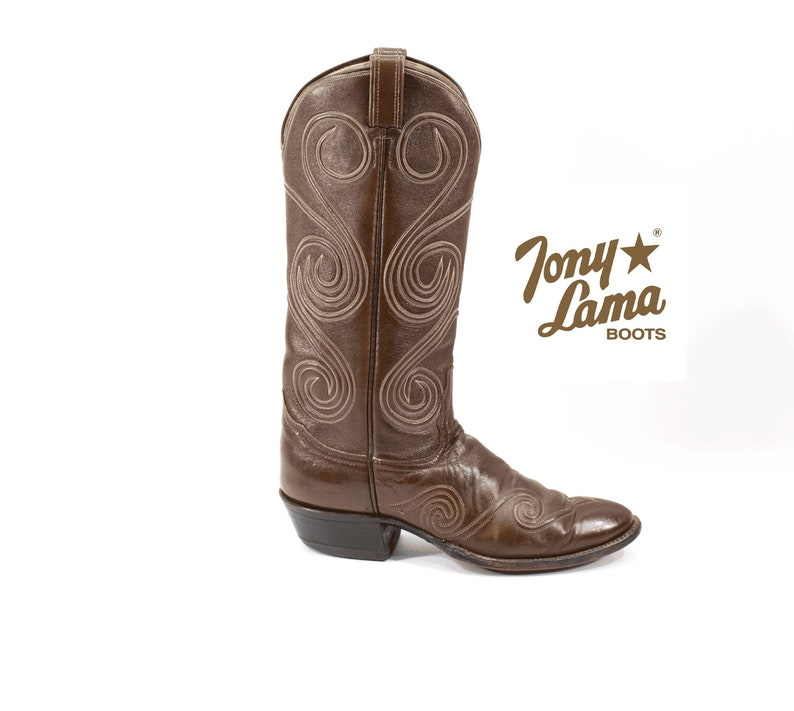 dc9ccf72061 TONY LAMA Cowboy Boots Brown Western Rocker Handmade Leather Vintage Boots  Womens Size 8