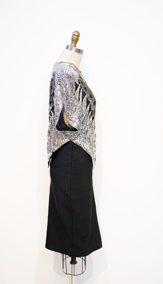 Sequins Top Vintage 1970s DISCO Silver Butterfly … - image 7