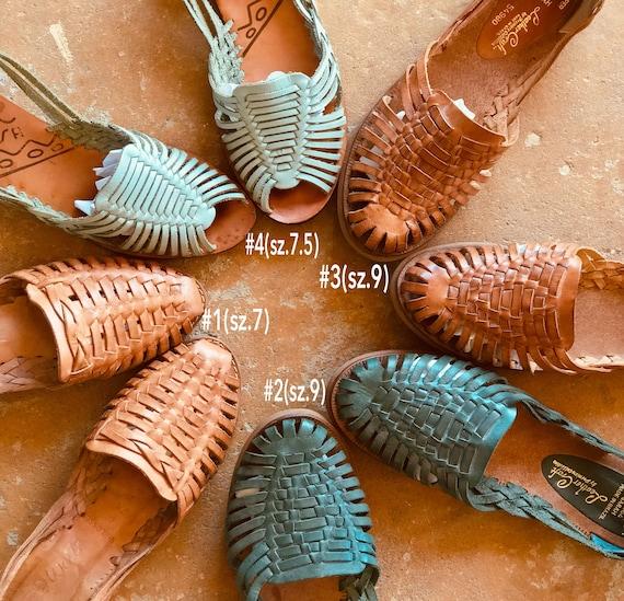 Vintage Leather Huarache Teal Green Leather Sandal