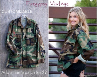 Camo Jacket Vintage Military Army Jacket Authentic Military Issued Button Down Jacket ALL SIZES
