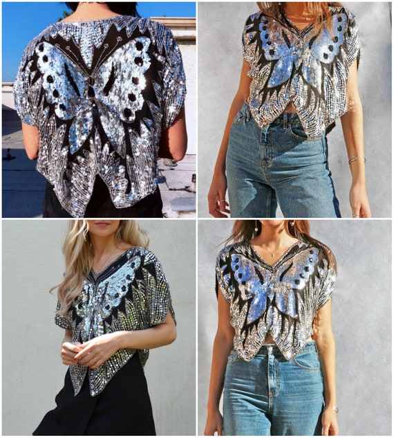 Sequins Top Vintage 1970s DISCO Silver Butterfly … - image 10