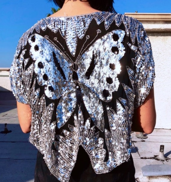Sequins Top Vintage 1970s DISCO Silver Butterfly … - image 9