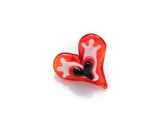 red, white & black heart button