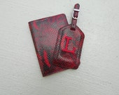 Leather Passport Cover and Luggage Tag in Red Python Style