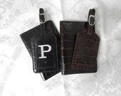 Leather Passport Cover and Luggage Tag in Croc Black or Brown