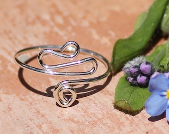 Adjustable Toe Ring ~ Sterling Silver Toe Ring ~ BohoJewelry ~ Wire Wrapped Ring ~ Summer Jewelry ~ Silver Midi Ring ~ Above Knuckle Ring