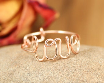52caba5868 Love ring copper, Adjustable thumb ring, Cursive love ring, Script love ring,  Girlfriend Anniversary gift, Romantic couple gift,Knuckle ring
