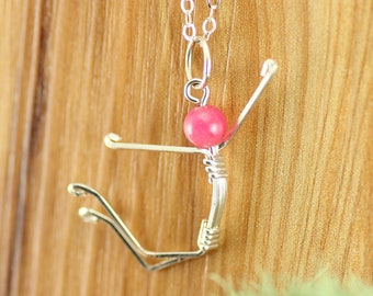 Jumping for Joy Pendant ~ Uplifting Happiness Jewelry ~Happy Graduation Gift ~Positive attitude Necklace ~Stick figure Pendant ~Gift for her