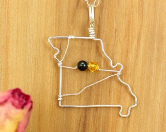 Missouri state necklace ~ Missouri home necklace ~ State Missouri outline jewelry ~ University Missouri lover pendant ~Missouri state charm